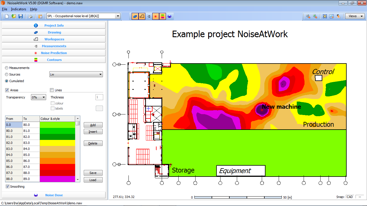 Example project noise levels in a production and storage facility